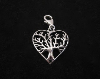 TREE of LIFE heart sterling silver clip on charm pendant for link charm bracelet or necklace