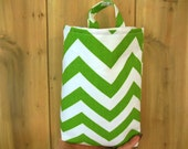 Eco-friendly Chevron Green and white car trash bag/accessory holder.