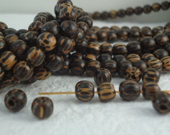 30 Wooden Beads old Palmwood 6mm Round Loose Beads Wooden Palm wood Beads Natural Beads BOHO