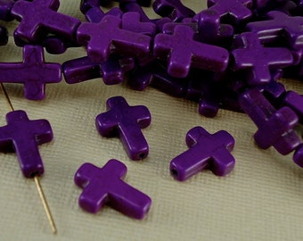 4 Gemstone Cross Charms Howlite Sideways Cross Beads Purple 1/2 x 3/4 inch  12mm x 16mm Natural Beads