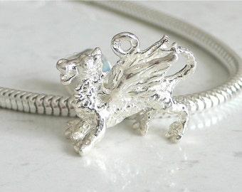 3D FLYING DRAGON Sterling Silver Mythology Charm Fits All Slide On Bracelets