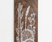 Desert Garden: Southwest Landscape Wood Wall Art, Screen print on wood, cacti, agave, prickly pear