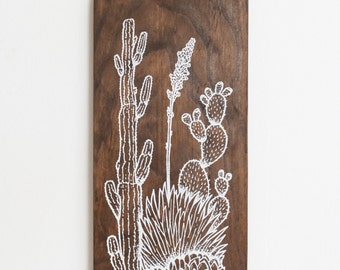 Southwest cactus Wood Wall Art, Screen print on wood, cacti, agave, prickly pear- Desert Garden