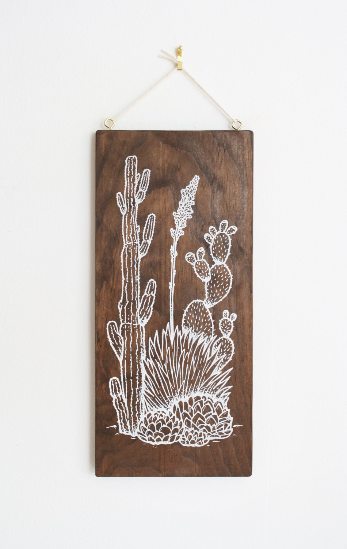 Southwest Cactus Wood Wall Art Screen Print On Wood Cacti
