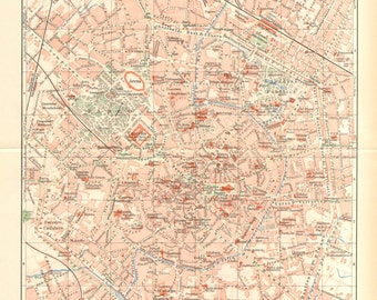 1905 Original Antique City Map of Milan, Capital of the Region of Lombardy, Italy
