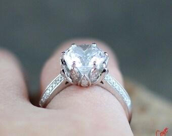 forever one moissanite lotus flower diamond engagement ring 27 3 ct 9mm 14k 18k white yellow - Lotus Wedding Ring