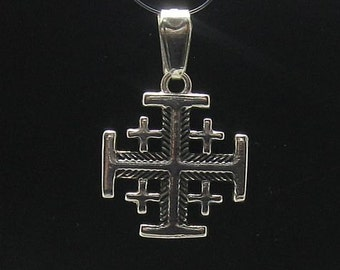 PE000588  Sterling silver pendant Jerusalem cross solid 925