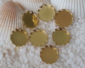 Brass Lace Edge Cabochon Settings - Unplated Round - 10mm - 25 pcs