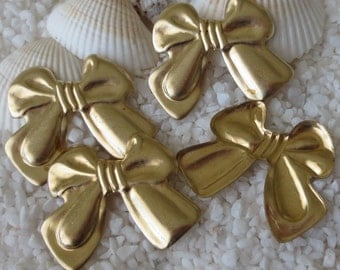 Vintage Brass Bow Findings/Component  - 24mm x 24mm - 4pcs