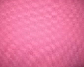 "White pin dots on pink 1/2 yard X 42"""