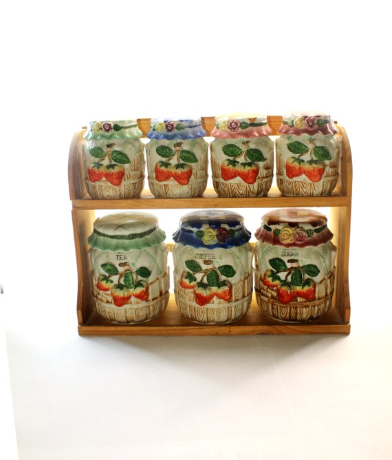 country kitchen canister set strawberry by hobartcollectables