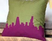Chicago Skyline Pillow (14x14) Olive Green and Purple | Original Home Decor | Great Holiday Gift