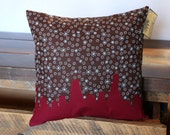 CLEARANCE SALE - Original Chicago Skyline Pillow (14x14) Brown & Burgundy | Winter Home Decor | Great Holiday Gift