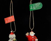 Sanrio Snowman and Santa waving his hands Ceramic Christmas Trinket/Ornament 2 Trinkets Vintage Sanrio 1988, 1991