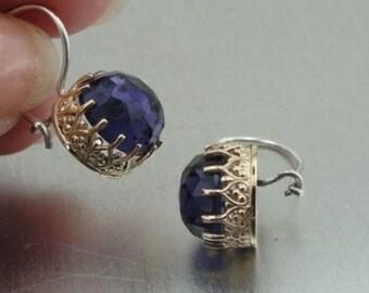 New Israel Handmade Beautiful 9k yellow Gold 925 sterling silver Amethyst Earrings (I e373)