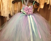 Hydrangea Boutique Style Tulle Tutu dresses with matching headband/hairclip