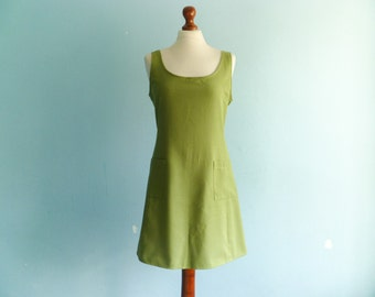 Vintage green dress / casual day dress / a line / sleeveless / short / medium