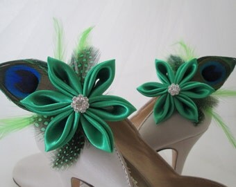 Kelly Green Shoe Clips, Peacock WEDDING Shoe Clips, IRISH Bride Shoe Accessories, Kanzashi Flower Shoe Accessories Fascinator, Wedding Shoes
