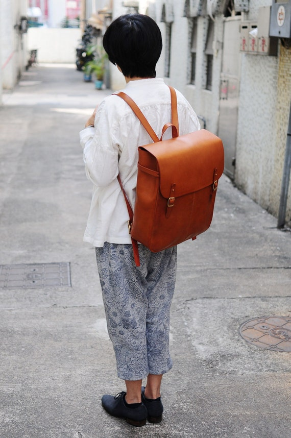 Stitched Extra Large Leather Backpack