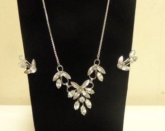 Vintage Sterling Van Dell Necklace & Earring Rhinestones Wedding/Bridal