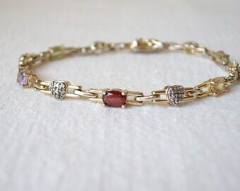 925 Silver Gold Wash Heart Bracelet with Semi Precious Stones