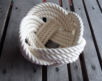 """FREE SHIP Cotton Rope Bowl Basket 7 x 5 """"  Knotted  off white Nautical Decor"""