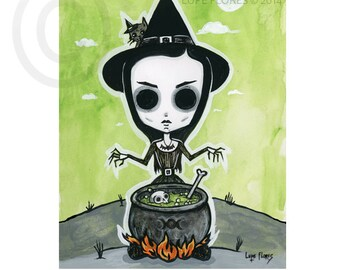 Eva the witch 8x10 Halloween ART PRINT