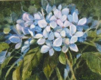 Blue Hydrangea Blossom - Original Watercolor Painting