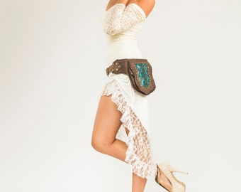 White Lace Skirt- Wedding- Bridal- Burning Man- Kundalini