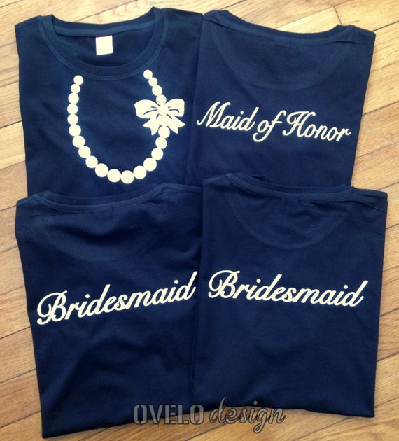 Bridesmaid Maid of Honor Necklace with Pearls and Bow T-shirt for Women Pictured in Black with White Necklace