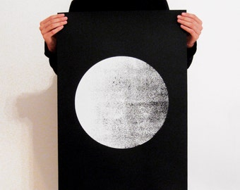 BIG Screen Print Poster, 50 x 70, moon poster, black white art, wall art, screen print, 50 x 70 poster, full moon, art wall,hand printed