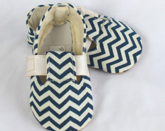 BLUE CHEVRON-Navy, Blue, Cream Nautical Baby Boy Bootie, Soft Sole, Toddler, Cloth