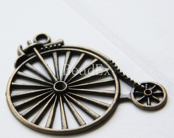 4pcs / Bike / Antique Brass Tone / Base Metal Pendants (YB13601//D302)