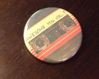 """Guardians of the Galaxy 1.5"""" Awesome Mix Vol. 1 button"""