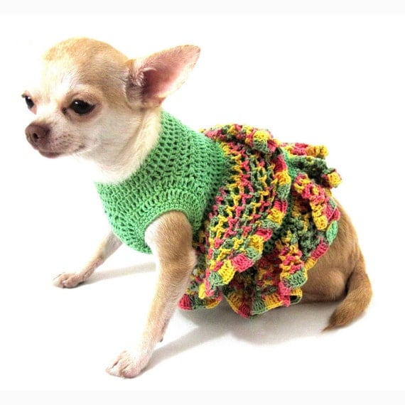 Dog dress ruffle handmade crochet unique chihuahua by myknitt - Dog clothes for chihuahuas ...