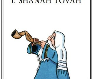 Jewish New Year Card/ Blowing in the New Year