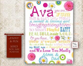 Name Poster- Tween Birthday Sign- Colorful Birthday Poster- Teen Subway Art- Princess Room Decor- Tween Birthday Idea- OOAK Birthday Decor