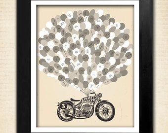 "Guest Book,  Motorcycle Wedding Poster, 16"" x 20"" - Up to 150 Signatures, Guest Book Alternative"