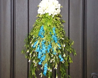 Spring Wreath Summer Wreath Teardrop Vertical Door Swag Decor Floral Door Decoration Indoor Outdoor Decor Blue White Wispy Swag