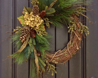 Christmas Wreath-Twig-Winter Wreath- Holiday Wreath- Grapevine Door Decor Floral Decoration Decoration Green Hydrangea Indoor Outdoor Decor