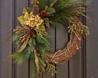 Christmas Wreath-Twig-Winter Wreath- Holiday Wreath- Grapevine Door Decor Floral Decoration Decoration Green Hydrangea Indoor Outdoor Decor