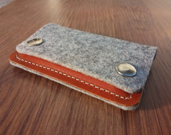 Card holder Credit card holder wallet felt wallet purse card wallet - Light grey felt and brown leather