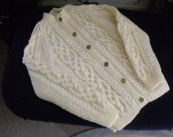 Reduced 15%   Aran Cardigan with 'brass' buttons