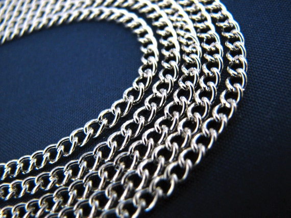 Silver Chain : 16 ft | 5M Antique Silver Curb Chain | Silver Twisted Oval Link Chain 2.5x3.7x.7mm -- Lead, Nickel & Cadmium Free 43840