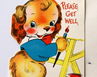 1940s vintage get well card, unused, with envelope