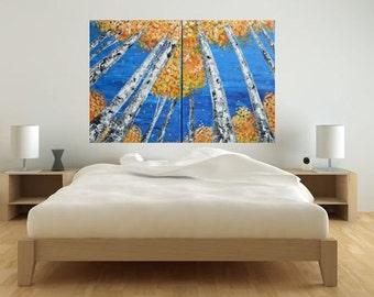 Made To Order-Modern Yellow Orange Fall Aspen Tree Scene