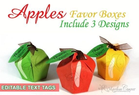 Apple Favor Box Kit, candy box, printable favor box, gift, Favor, treat holder, Birthday Party