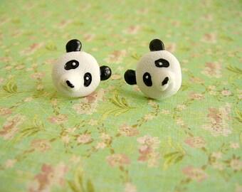 Black White Panda Earrings, Panda Button Earrings, Panda Jewelry