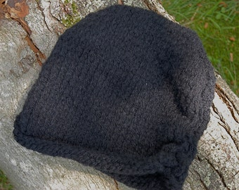 Black Slouch Hat, Hand Knit, unisex adult/tween size hat, scrunch hat