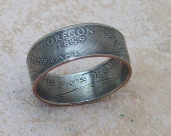 Coin Ring  Made To Order Coper Nickle Handmade Jewelry OREGON State Quarter Ring Christmas Gift or Stocking Stuffer You Pick the Size 5-10